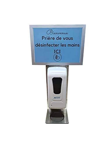 Niitt - Dispensador de gel hidroalcohólico con panel de visualización personalizable, multifunción, 3 en 1, gel líquido, espuma de gran capacidad, 1 litro adaptador incluido y a pilas