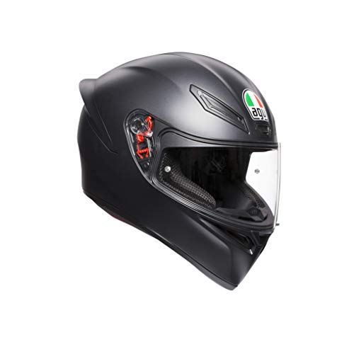 AGV 0281A4I0_003_MS K1 Solid Casco Moto Integral, Negro Mate, MS