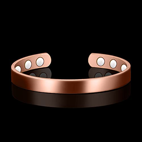 COPPERHEALING Magnetic Copper Bracelet for Arthritis; (6 Powerful Magnets Embedded); 99.9% Pure Copper; Stunning Design; for Pain Relief and Magnetic Healing Purpose; Large Size