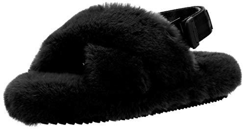 [シャカ] ファーサンダル FIESTA FLUFFY レディース 2way 靴 もこもこ 秋冬 ストラップ取り外し可能 ルームシューズとしても活躍 Black 22 cm
