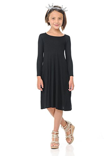 Pastel by Vivienne Honey Vanilla Girls' Trapeze Dress with Easy Removable Label Small 5-6 Years Black