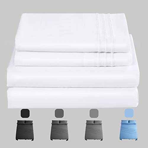 COTTONHOUSE 200 Thread Count Cotton Queen Size Sheets Set | 4 Piece - Fitted, Flat Sheet & Pillowcase Shams | Stretches Up to 14 Inches to Easily Cover Large Bed Sizes | Superior Softness White