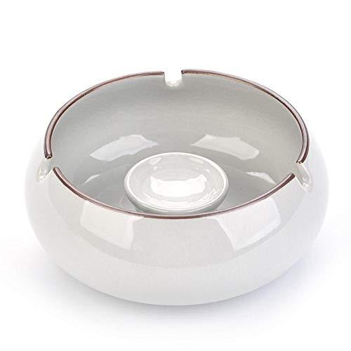 Cenicero de moda creativa grande con tapa cenicero de cerámica para oficina en casa-Ge Yao Moon White-Sin cubierta