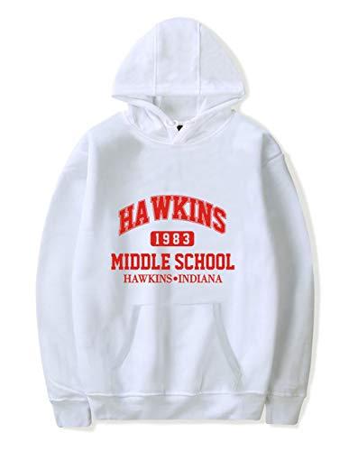 SIMYJOY Unisex Hoodie Hawkins Middle School Pullover 1980er Jahre Mode Vintage Sweatshirt Streetwear für Mann Frau Teen weiß B XS