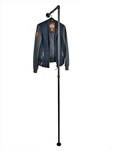 Kleiderständer Breite 50 cm, stabile Garderobe, schwarz aus Stahlrohr, Kleiderstange Industrial Design, Standgarderobe