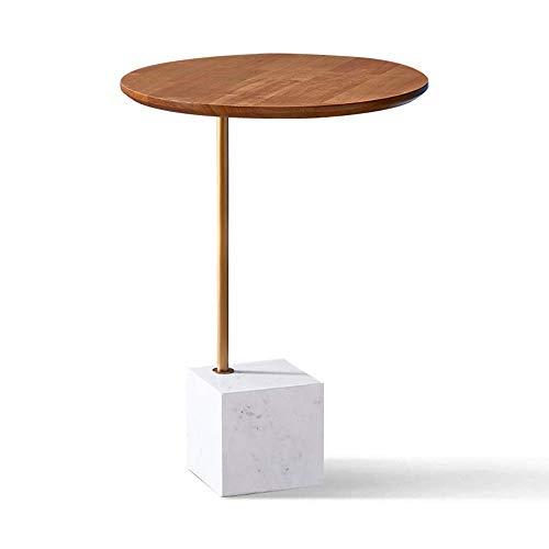 GAOLIM Table d'appoint Salon Petite Table Ronde Table de téléphone Table d'angle Balcon Table Basse Bureau en Bois Massif et Base en marbre, 15,7\