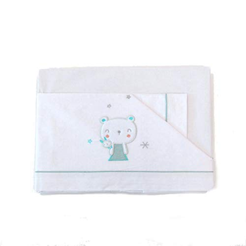 Parure de lit bébé en pur coton brodé modèle ourson blanc vert 50 x 80 cm.