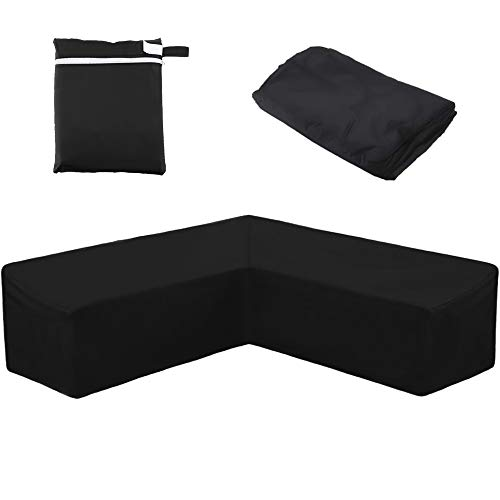 QZMVER Garden V-Shape Furniture Cover Waterproof Outdoor Corner Sofa Cover,Heavy Duty Windproof Anti-UV Rip Proof Protective Cover For Garden Furniture Patio Couch Set (286x286x82cm)