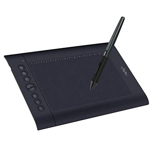 ChengBeautiful Tavoletta Grafica 10x6.25 Pollici Grafica Drawing Tablet 8 Express Keys 16 Tasti Morbidi 8192 Livelli Stilo Senza Batteria Ideale per L e-Learning da Casa A Ufficio