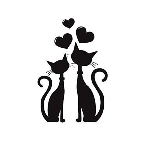 Naisicatar Etiqueta Etiquetas engomadas de la Pared Dos Gatos Pegatinas de Pared en el Dormitorio o decoración de los Gatos Negros 56 * 30.5 cm útil y Bien