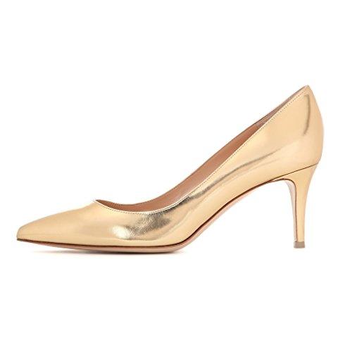 EDEFS Spitz Damen Pumps Klassische Kitten Heel Absatz Pointed Toe Schuhe Gold Größe EU39