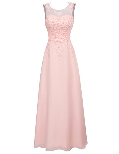brautjungfernkleider lang rosa damenkleid Chiffon festkleid Fashion Elegante Kleider 38 CL670-3