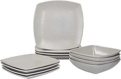 Creative Tops Rabe Grau 12-teiliges Essgeschirr, quadratisch, Keramik, Service für 4