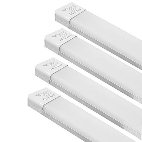 4X Plafoniera LED soffitto 60cm 30w Super Efficiente AOMEX Lampada Led Soffitto per Garage Officina Ufficio Bagno Seminterrato Giardino Magazzino (Naturale/4000K, PACCO DA 4)