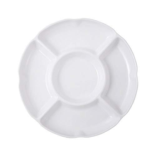 AODOOR 1PC Servierplatten, Snack Schalen Rundes Plastik Tablett Grillteller mit 5 Einteilungen Porzellan, Fondueteller ideal für Lebensmittel Obst Süßigkeiten Tablett Vorspeise Servierplatte - 24 CM