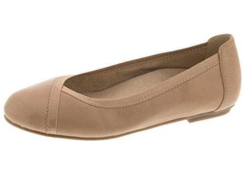 Vionic Women's Spark Caroll Ballet Flat - Ladies Dress Casual Shoes with Concealed Orthotic Arch Support Tan 9.5 Medium US