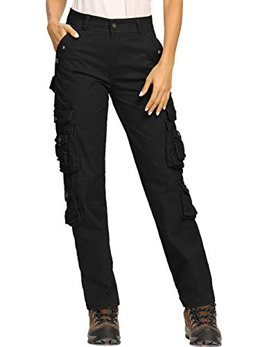 Womens Cargo Pants with Pockets Outdoor Tactical Casual Ripstop Military Combat Work Tousers Black Tag 29-US 8