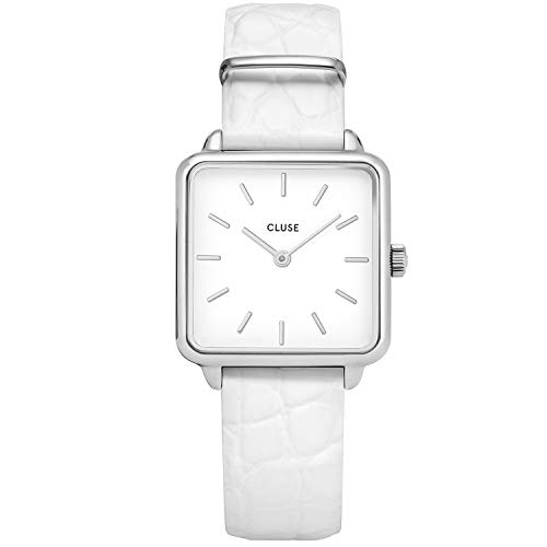 CLUSE Women's Quartz Watch with Leather Strap, White, 16 (Model: CW0101207017)