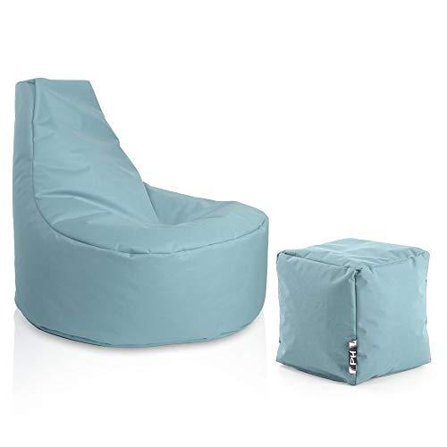Patchhome Gamer Sessel inkl. Würfel Bean Bag Set Ø75cm, 30cm Sitzhöhe, 80cm Höhe + 35x35cm Würfel Hellblau