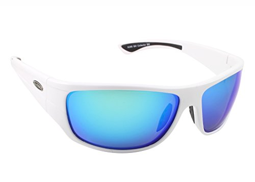 Sea Striker 288 Bill Collector Sunglasses, White Frame/Blue Mirror