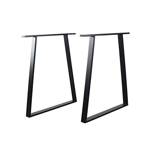 TOKIKA Table Legs H28 x W17.7 Inch Black,Dining Table Legs Metal Table Legs Trapezoid-Shaped,Office Table Legs Computer Desk Legs Country Style Table Legs,Set of 2
