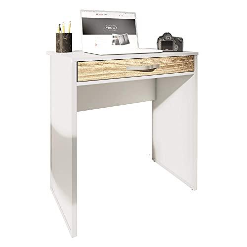 PLAYCON Escritorio Home Office 72X48X79 cm un cajón (Blanco con Frente Roble)