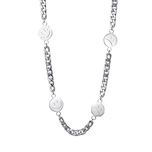 Pulsera y collar con diseño de emoticono sonriente para mujer, cadena de acero inoxidable chapada en plata, conjunto de collar con dije de emociones, el mejor regalo para amigos
