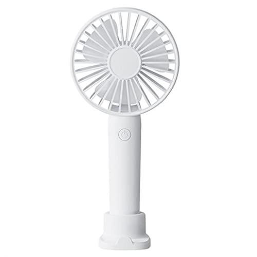 LAANCOO Mini Ventilador de Mano Escritorio 3 Velocidades Recargable de 1200mAh silencioso Ventilador USB Viajes Ventilador del Bolsillo extraíble con Base Blanca