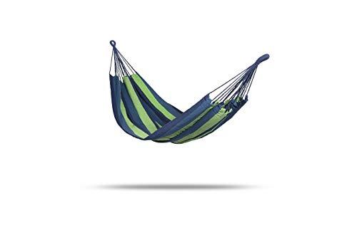 909 OUTDOOR Hängematte für Garten und Camping Blau Grün 200 x 100 cm, aus Baumwolle mit 2 Karabinern, Nylonschnur und Tasche, für 1 Person
