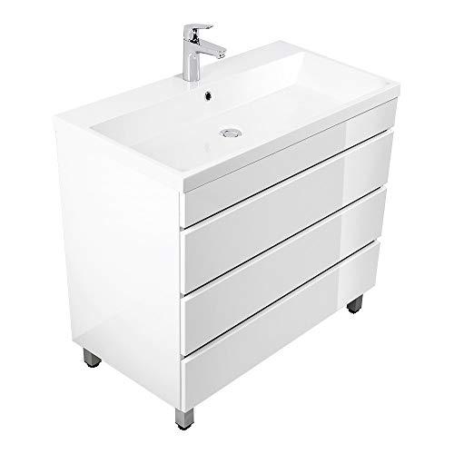 Lomadox Badezimmer Stand-Waschtisch mit Unterschrank in Hochglanz weiß 91cm Waschbecken