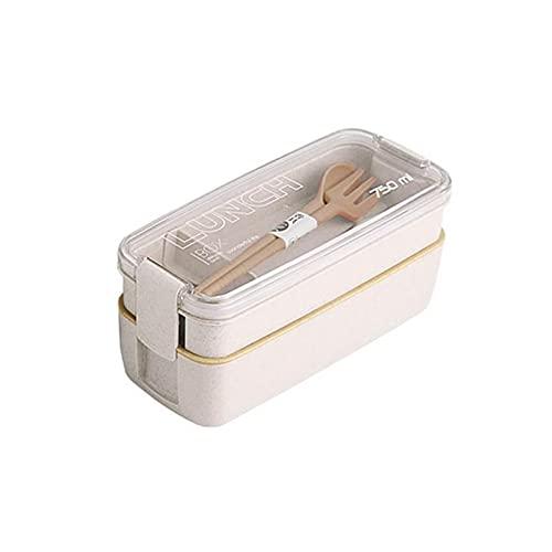 XXY Material De Salud 2 Capas Caja De Almuerzo Microondavable Eco-Friendly Vajilla Straw Straw 750ml Lunchbox Japanese Contenedor De Alimentos (Color : Beige)