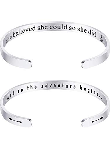 jemous Alphabet Inspirational Gegraveerde armband voor vrouwen, meisjes, jongens, verjaardagscadeau, 2 packs, Mixing.