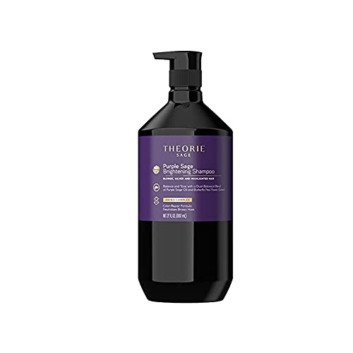 THEORIE Purple Sage Brightening Shampoo- Balance, Tone & Brighten Blonde, Silver, Grey, Bleached, Color Treated or Highlighted Hair, Eliminate Brassiness & Yellowing, 800mL