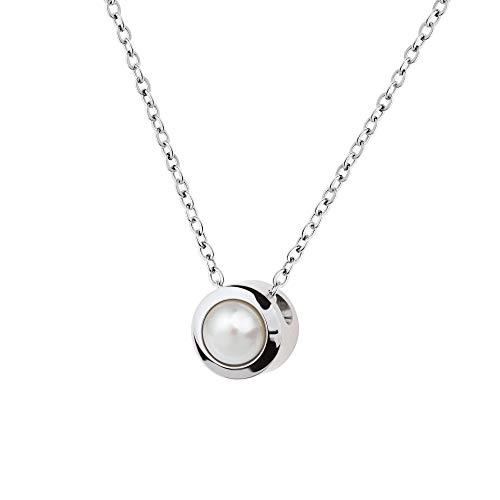 Collar Ernstes Design K788 colgante con perla de acero inoxidable cadena de ancla