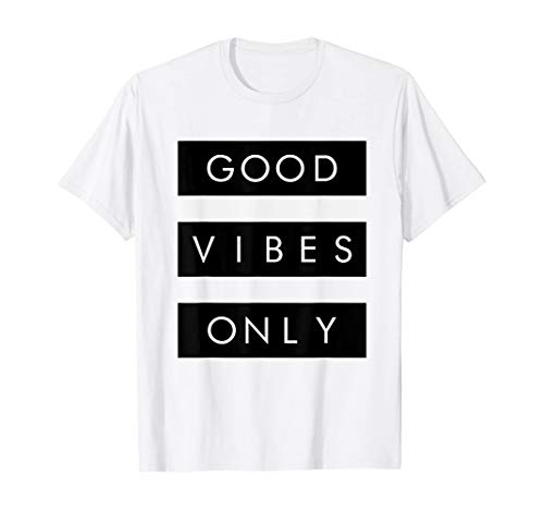 Good Vibes Only Inspirational Motivational T-Shirt   for Men Women Comfortable Fit Wearable Anywhere, White and Black In Sizes S-5xl