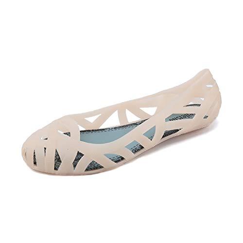 JXILY Zapatos De La Tendencia Sandalias Ahueca hacia Fuera Los Planos De Las Mujeres De Las Mujeres Las Sandalias Antideslizantes Suave Manera Las Señoras Inferior Cómodo Antideslizante,Rosado,39