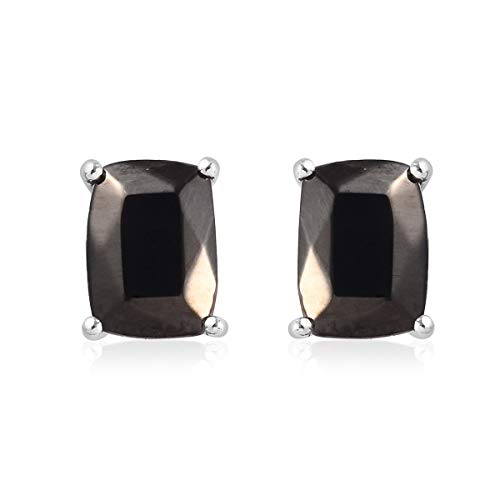 TJC Stud Shungite Platinum Plated 925 Sterling Silver Earrings for Women, 1.33 Ct