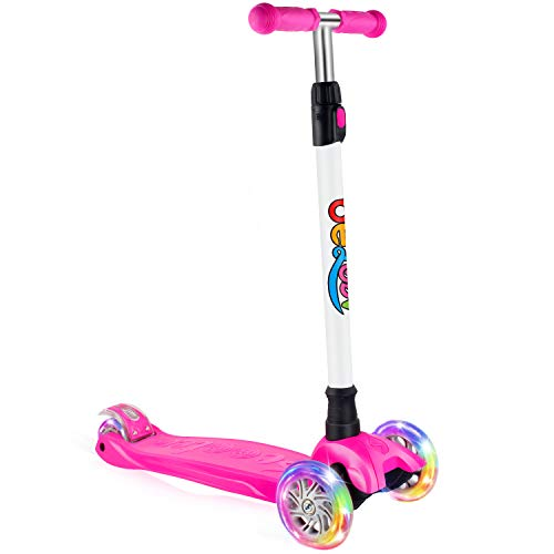 BELEEV Kick Scooter for Kids 3 Wheel Scooter 4 Adjustable Height Lean to Steer with PU LED Light Up Wheels for Children from 3 to 14 Years Old Pink
