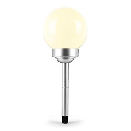 oneConcept - LED-Flower, Solarleuchte, Gartenleuchte, Ø 20 cm, Kugelform, weiße LED, stoß- und wetterfest, Solar-oder Batterie-Betrieb, Dämmerungssensor, Erdspieß, weiß
