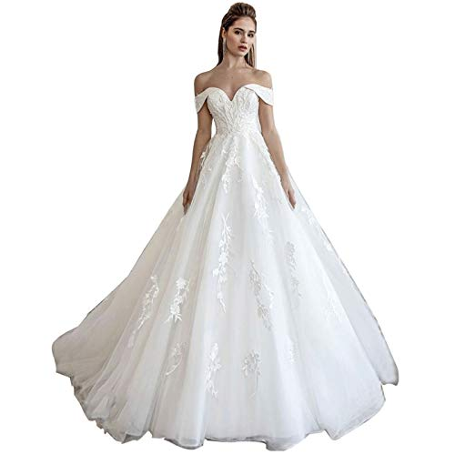 Lace Train Wedding Dress for Bride Aline Applique Bride Dress Long Tulle Off Shoulder Strapless White