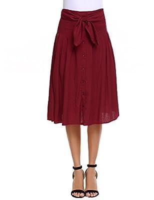 Zeagoo Women's Tie Waist Street Midi High Waist A Line Skirt Front Button Skirt
