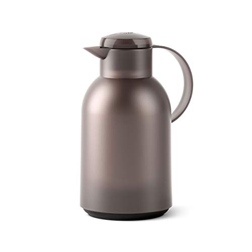 Emsa SAMBA Isolierkanne Quick Press, Kanne, Teekanne, Kaffeekanne, Kaffee, Kunststoff, Transparent-Taupe, 1.5 L, N4012200