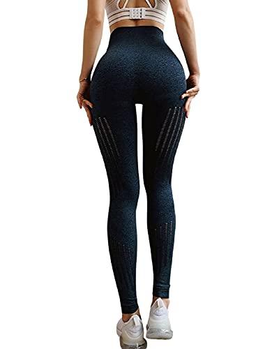 CMTOP Leggings Sin Costuras de Malla Mujer Pantalon Deportivo Alta Cintura Elásticos Fitness Pantalones de Pantalon Yoga Huecos de Nueve Puntos Pantalon (Azul Oscuro, S)