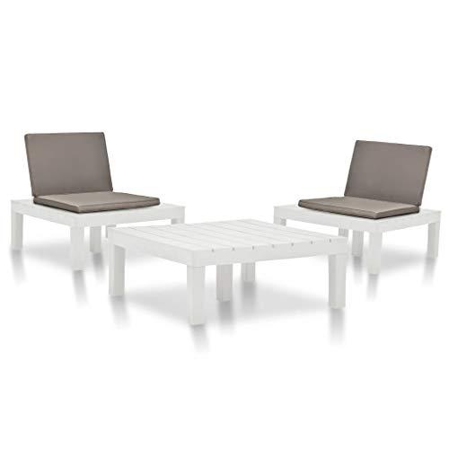 FAMIROSA Juego de Muebles de jardín 3 Piezas plástico Blanco (30,05kg)