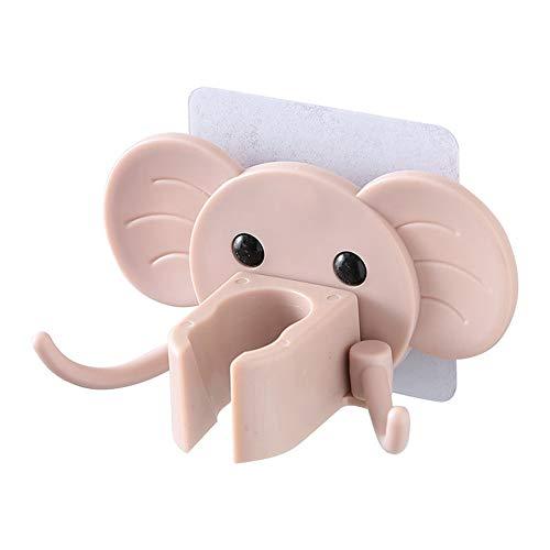Soportes de ducha con forma de elefante, ganchos de pared autoadhesivos, giratorios 180°, ganchos de pared para baño y dormitorio (rosa)