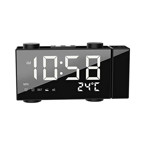 Digitale wekker met snooze-Thermometer tafelklok USB Batterijspanningsmeter LED Alarm Scherm tijd van de dag en Temperatuur (Color : White light, Size : 3.5 * 1.46 * 6.69in)