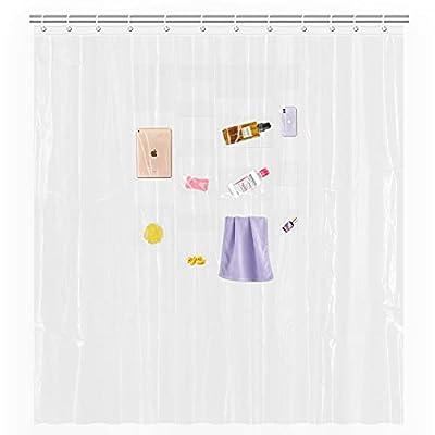 Beautysaid Waterproof Shower Curtain Liner 17 Transparent Pockets Bath/Shower Phone/IPad Bathroom Supplies/Organizer, 72 inches x 72 inches