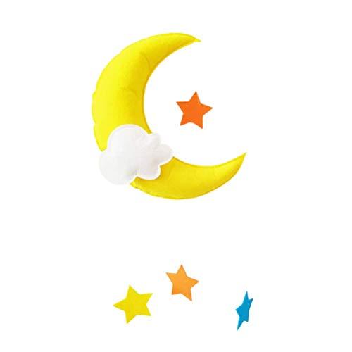 Rawisu Decoración Colgante de Nubes Adorno de Gota de Lluvia de Luna Colgante de Bricolaje para Baby Shower Habitación de niños Techo Ventana Colgante de Pared Decoración de Fieltro de guardería