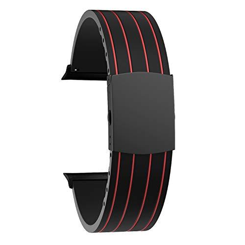 SOUWILA Compatibile con Gomma Apple Cinturini Orologi 38mm 40mm 42mm 44mm iWatch Series 6/5/4/3/2/1 Cinturino Orologio Acciaio Inossidabile Fibbia Deployante (42mm, Red-Black)
