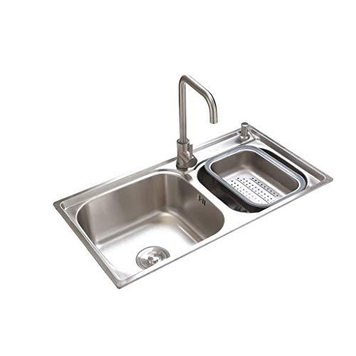 XJJZS Fregadero, Incorporado en Acero Inoxidable Cepillado del Fregadero de Cocina Plato Doble de Drenaje Conjunto Tamaño: 720 * 400 mm.